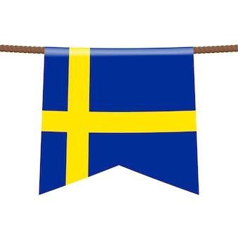 Le bandiere nazionali della svezia appendono sulla corda il simbolo del paese nel gagliardetto appeso alla corda. illustrazione vettoriale realistico.