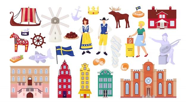 Simboli della svezia impostati con edifici della città di stoccolma, attrazioni turistiche e monumenti, illustrazioni di persone svedesi. cultura scandinava, nave nordica, mappa e bandiera, souvenir di viaggio.