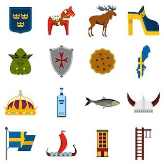 Viaggio in svezia imposta icone piane