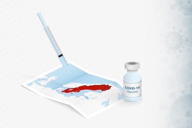 Vaccinazione svedese, iniezione con vaccino covid-19 nella mappa della svezia.