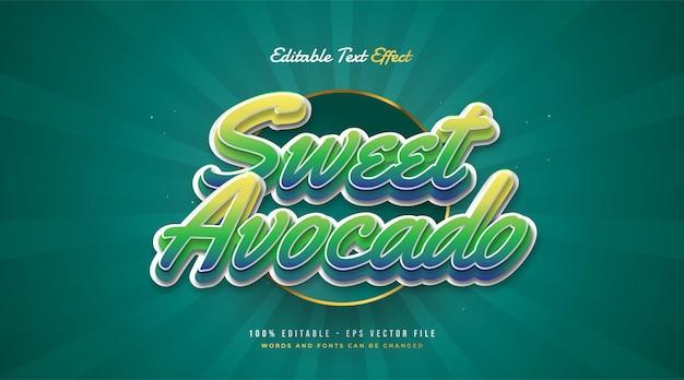 Stile di testo dolce avocado in sfumatura verde con effetto in rilievo. effetto di testo modificabile