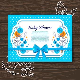 Invito per l'acquazzone del bambino dolce con giocattoli per bambini scarabocchiati