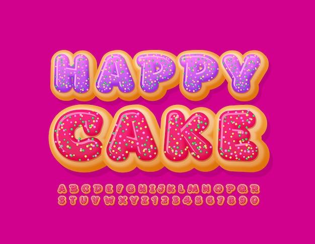 Banner dolce torta felice con carattere smaltato rosso lettere e numeri dell'alfabeto gustosa ciambella Vettore Premium