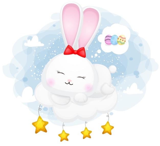 Dolce coniglietto che dorme su una nuvola e sogno felice premium vector