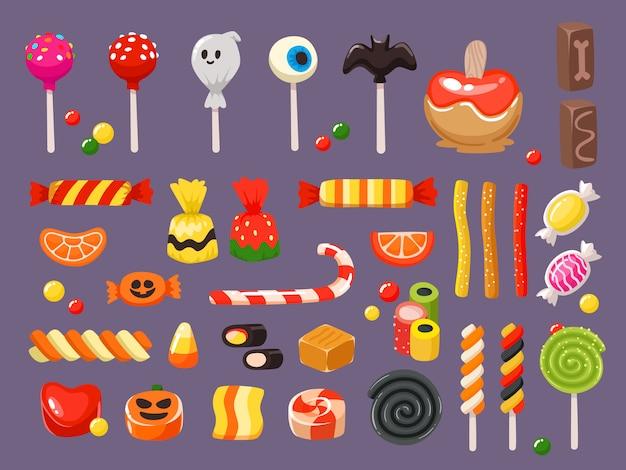 Set di caramelle dolci, lecca lecca di pipistrello spaventoso e caramelle alla liquirizia