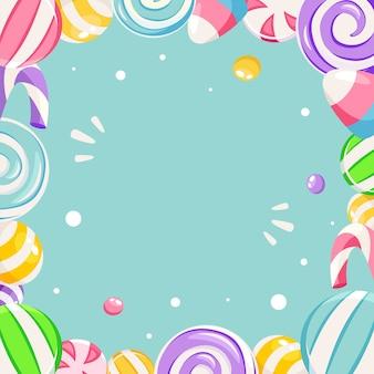 Dolce, cornice di caramelle, sfondo. concetto di negozio di caramelle. in stile piatto.