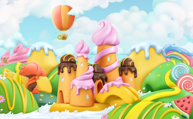 Terra di caramelle dolci, pasticceria, fumetto vettoriale