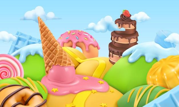 Fondo 3d del paesaggio della caramella dolce