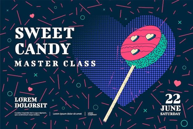 Disegno del manifesto della master class di dolci caramelle. illustrazione vettoriale.