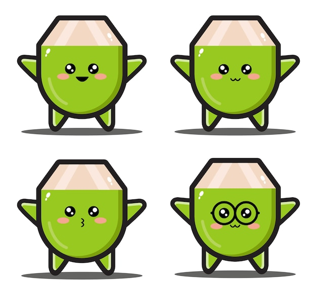 Dolce cartone animato cocco kawaii design premium
