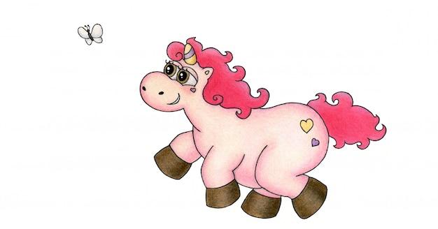 Il dolce e affascinante unicorno rosa corre con gioia alla farfalla. stampa per tazza o adesivo. illustrazione di disegno a mano carino.