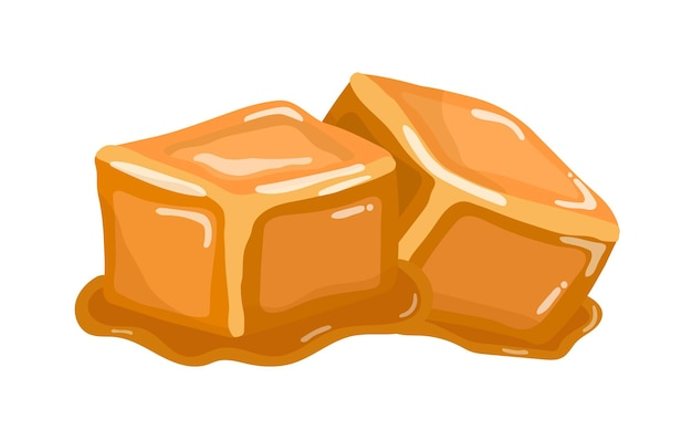 Dolce gommoso caramello caramello caramello dolce su sfondo bianco
