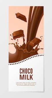 Latte al cioccolato dolce verticale realistico banner choco splash latte isolato su sfondo bianco.