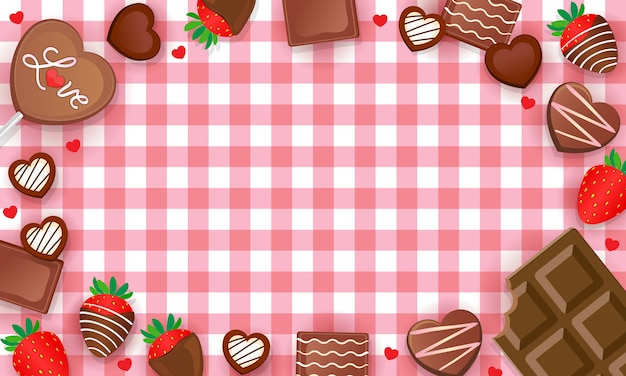 Sfondo di percalle dolci cioccolatini e fragole