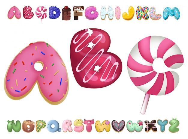 Carattere dolce cookie. lettere che cuociono in set di smalti colorati.