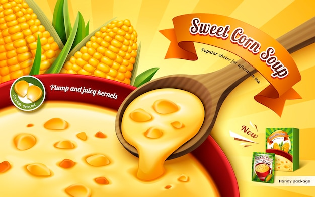 Annuncio di zuppa di mais dolce, con zuppa di tazza da vicino ed elementi di kernel di mais