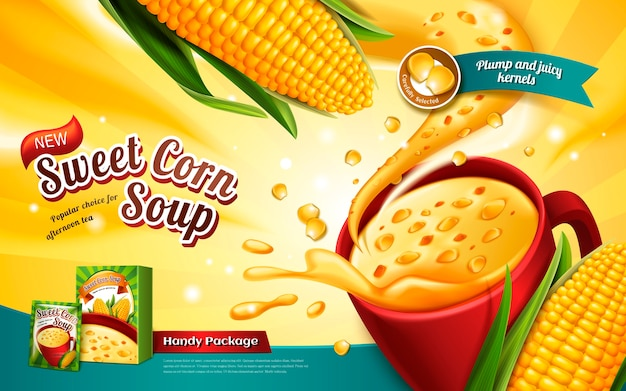 Zuppa di mais dolce annuncio, con effetti speciali ed elementi di mais