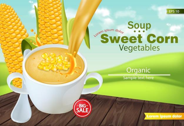 Zuppa di mais dolce in un modello di ciotola