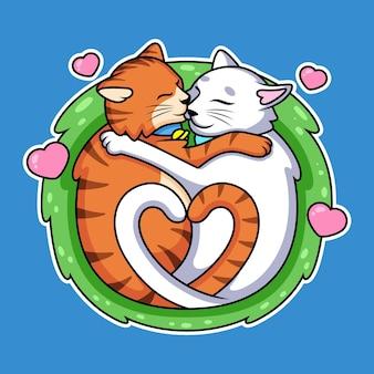 Fumetto del gatto delle coppie dolci con amore. icona animale illustrazione