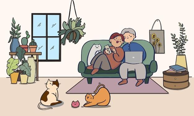 Coppia dolce sul divano