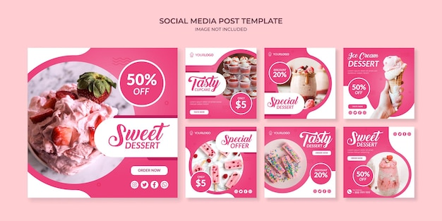Modello di post instagram social media dolce dessert