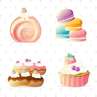 Insieme di vettore di dessert dolce