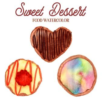 Illustrazione dell'acquerello del dessert dolce