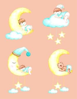 Sogni d'oro bambino con acquerello disegnato a mano per asilo nido e bambini