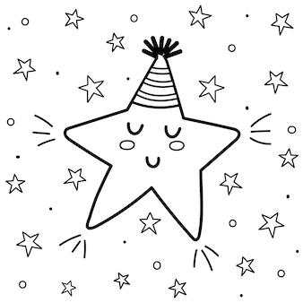 Pagina da colorare di sogni d'oro con una simpatica stella addormentata. sfondo di fantasia in bianco e nero. buona notte stampa per libro da colorare per bambini. illustrazione