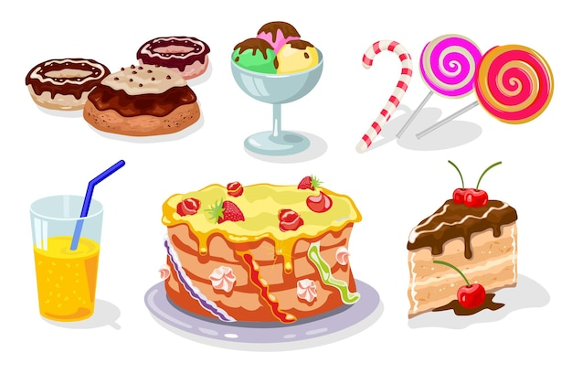 Dolce tavola festiva con torta di ciambelle gateau gelato zucchero filato lecca-lecca succo
