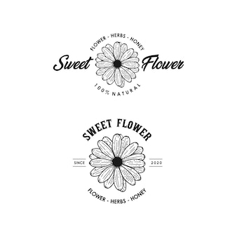 Azione premium del fiore dolce linea arte logo vintage design premium