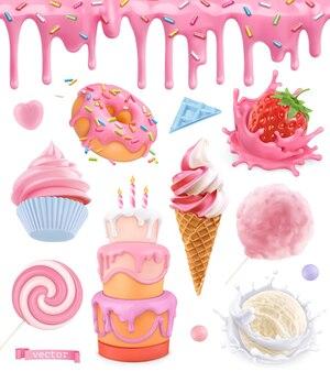 Cibo dolce. torta, cupcake, zucchero filato, gelato, yogurt alla fragola, ciambella. reticolo senza giunte di smalto rosa. insieme di vettore realistico 3d