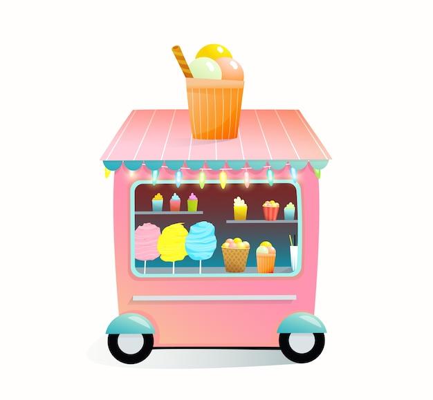 Negozio di dolciumi pieno di zucchero filato