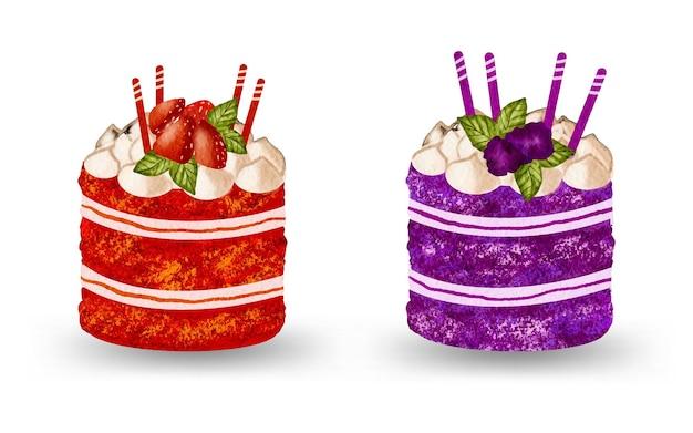 Illustrazione della raccolta dipinta a mano dell'acquerello della torta del dessert della frutta dolce