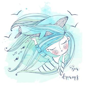 Una dolce ragazza sogna il mare. la sua fantasia è una grande balenottera azzurra. grafica e acquerelli.