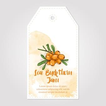 Etichetta di carta marmellata di marmellata di olivello spinoso fatta in casa dolce e salutare