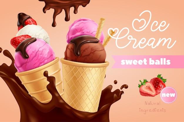 Annuncio di gelato dolce