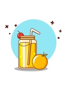 Succo dolce con l'illustrazione del fumetto dell'arancia