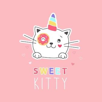 Unicorno dolce gattino con illustrazione di ciambella Vettore Premium