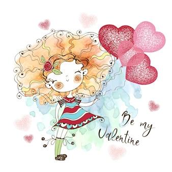 Bambina dolce con palloncini a forma di cuore. sei il mio valentino. vettore