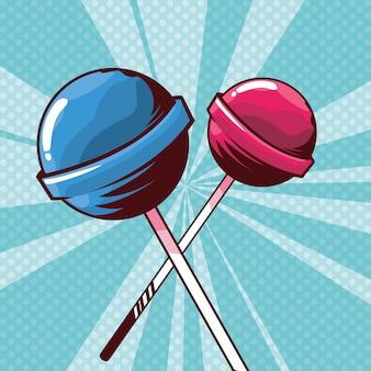 Icone di caramelle dolci lecca-lecca