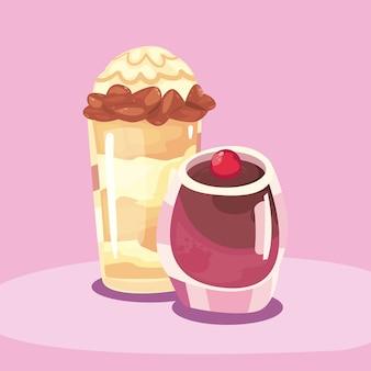 Dolce frappè e design per budino, dessert delizioso con zucchero e tema gustoso