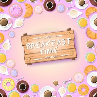 Modello dolce mattina con frittelle dolci croissant miele e tazze di caffè per due persone illustrazione