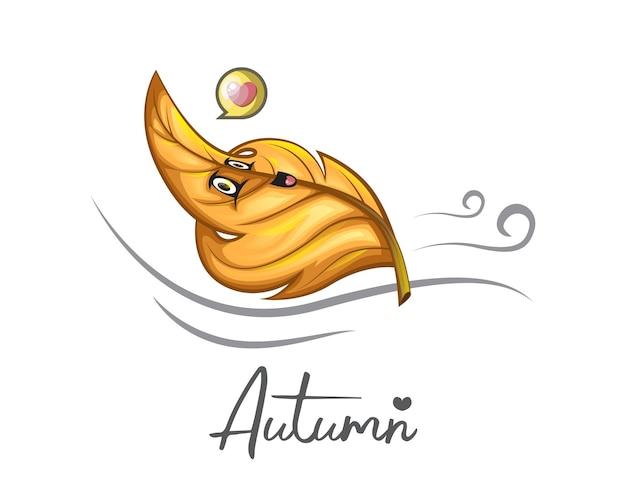 Foglie di arancia dolce che cadono in autunno rilassandosi per logo, poster, icona, mascotte