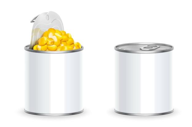 Lattina di mais biologico dolce in illustrazione 3d su sfondo bianco