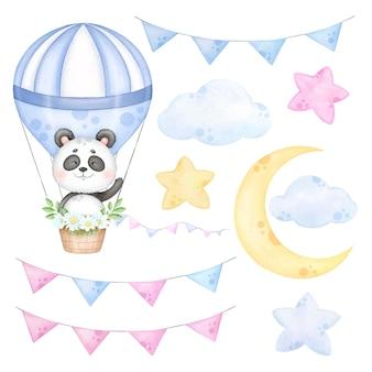 Dolce panda in una clip art in mongolfiera per ragazzi nursery