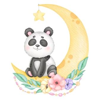 Il dolce panda siede per un mese con una ghirlanda di fiori
