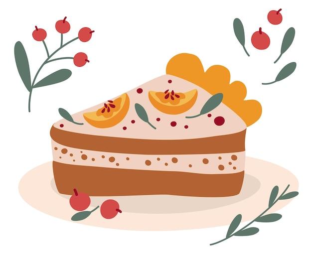 Dolce pezzo di torta di zucca. festa del raccolto della fattoria dei cartoni animati. dolce tradizionale americano