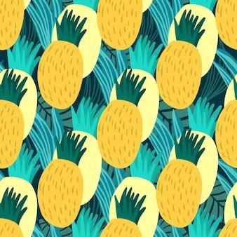 Modello senza cuciture di ananas dolce. carta da parati infinita di ananas disegnata a mano