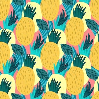 Modello senza cuciture di ananas dolce su sfondo rosa. carta da parati infinita di ananas disegnata a mano